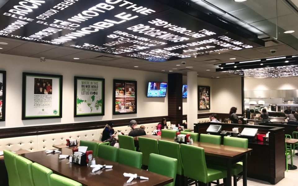 Commercial Restaurant Construction, Cambria Design Build, Pearson International Airport, Wahlburgers